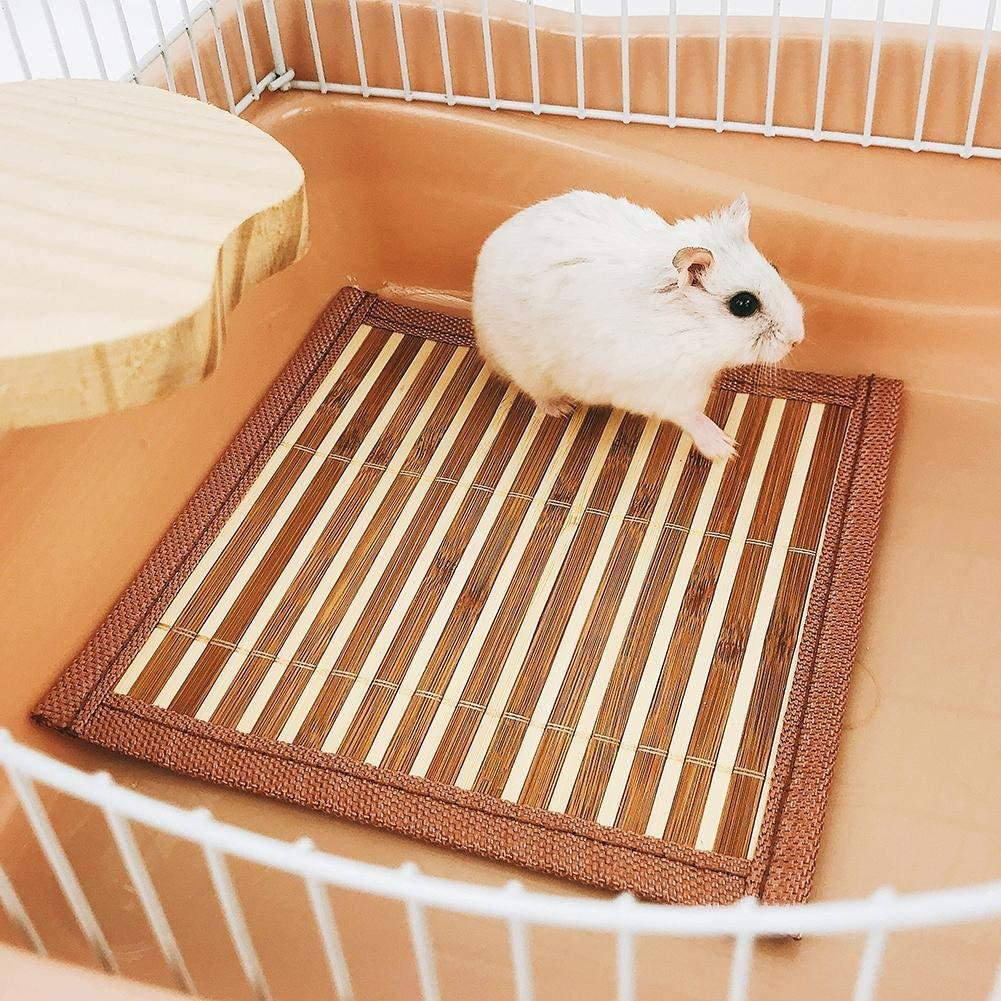 Summer Pet Guinea Pig Hamster Rabbit Bamboo Breathable Sleeping Bed Mat Cooling Nest Pad Pet Sleeping Cooling Mat Pet Products (Color : Random Color)