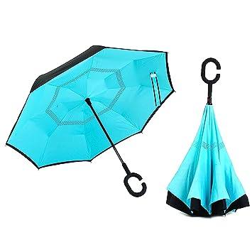 Paraguas reinventado: La nueva parte trasera abierta doble capa paraguas – doble capa resistente al