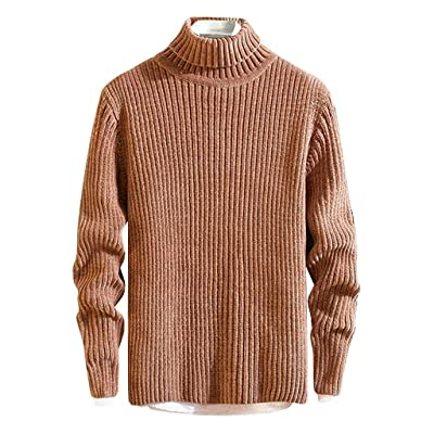 WINJUD Mens Sweater Autumn Winter Warm Turtleneck Pullover Solid Knitted Casual Top at Men's Clothing store