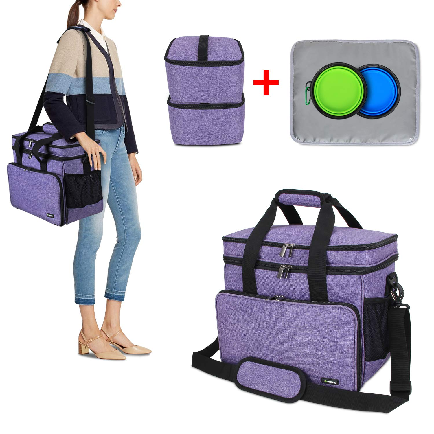 Teamoy Double Layer Dog Travel Bag with 2 Silicone Collapsible Bowls, 2 Food Carriers, 1 Water-Resistant Placemat, Pet Supplies Weekend Tote Organizer(Medium, Purple) by Teamoy