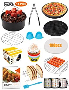 XL-Air-Fryer-Accessories-8-Inch, 14 pieces AirFryer Accessory Set for 5.3QT - 5.8QT with Recipes Cookbook, Magnetic Cheat Sheets, Compatible with Gowise USA, Phillips, Power and Cozyna