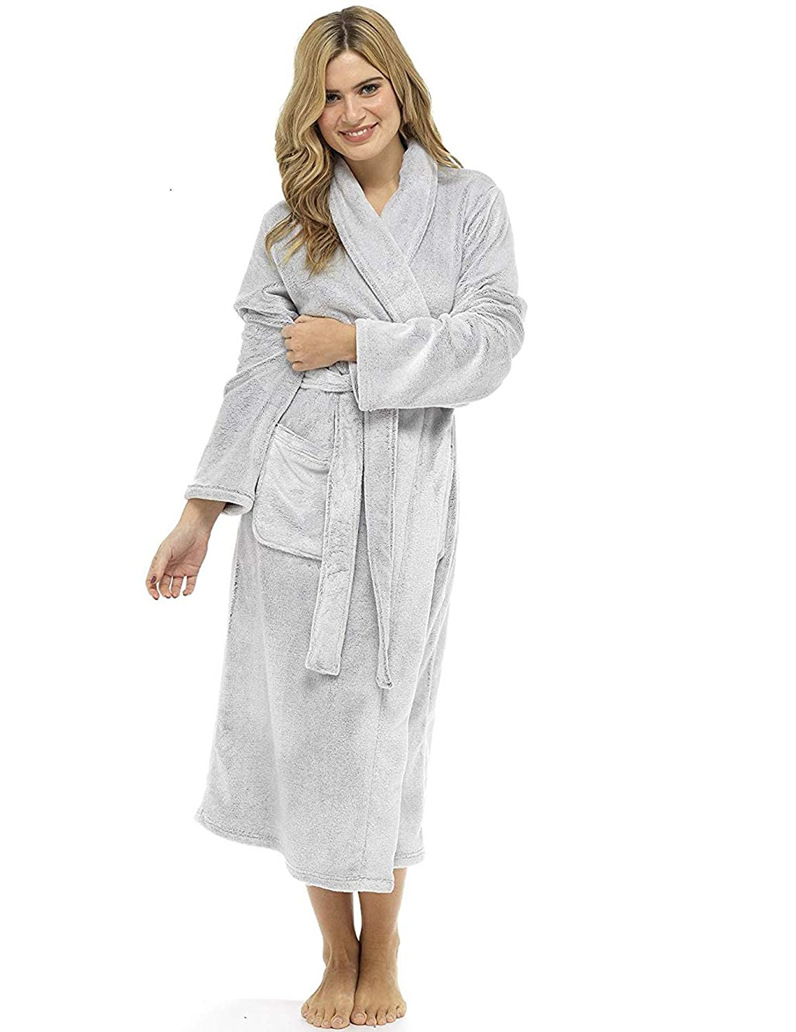 d6e82cc4c9 CityComfort® Luxury Dressing Gown Ladies Super Soft Robe With Fur Lined Hood  Plush Bathrobe For ...