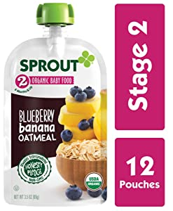 Sprout Organic Stage 2 Baby Food Pouches, Blueberry Banana Oatmeal, 3.5 Ounce (Pack of 12)