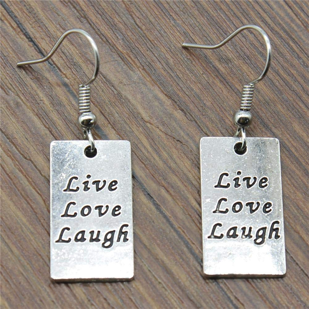 WYSIWYG 3 Pairs Drop Earrings Earrings for Girls Rectangular Double Sided Live Love Laugh Tag 22x12mm with Earring Backs Stopper