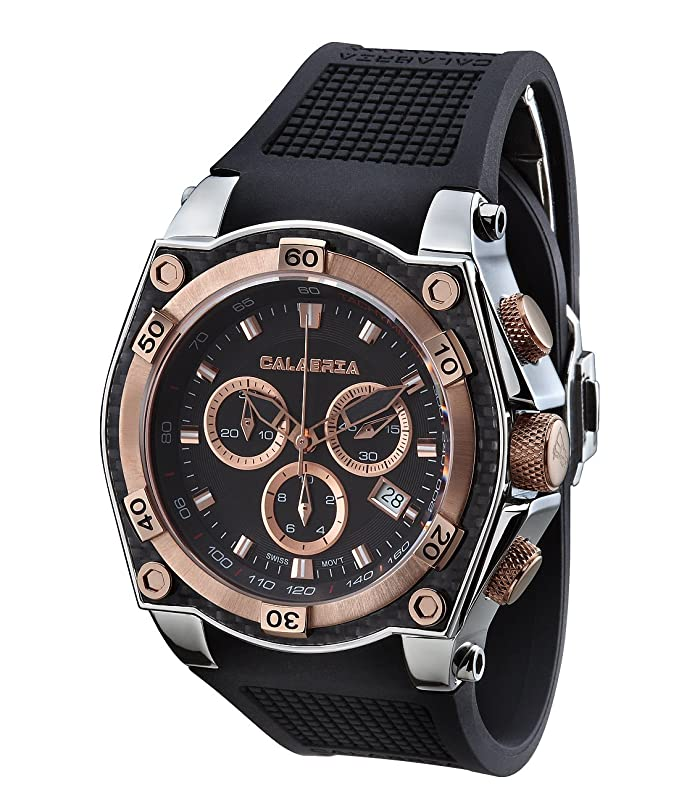 CALABRIA - INCANTO - Rose Gold Two Tone Chronograph Men's Watch with Carbon Fiber Bezel