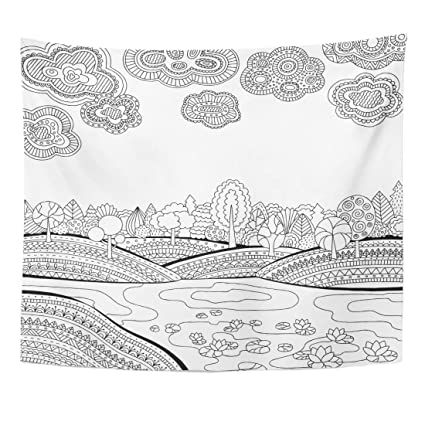Amazon.com: Emvency Tapestry Coloring Page for Adults with ...