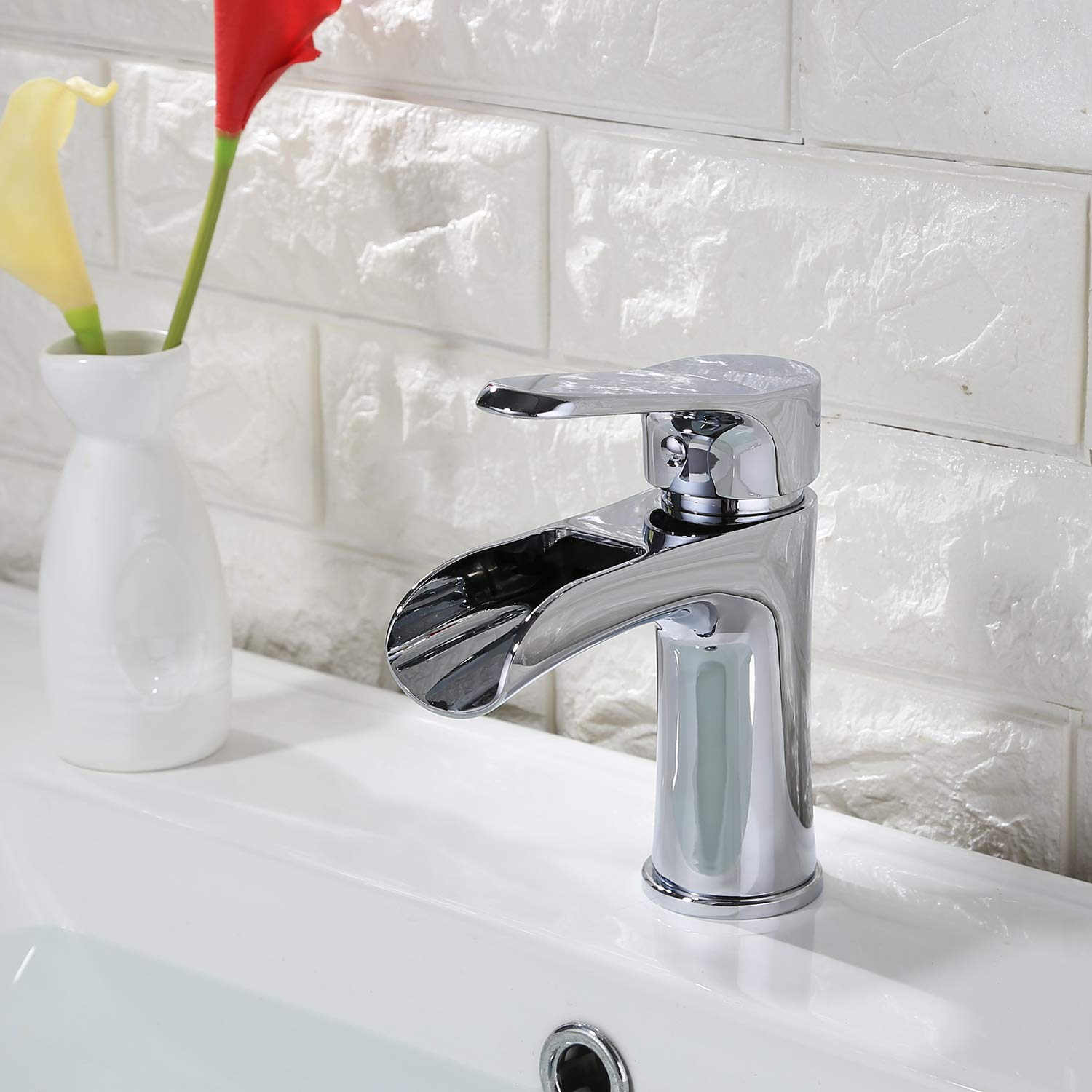 Bathroom Basin Sink Faucet Waterfall Widespread Single Handle Deck Mount  Brass Lavatory Vessel Mixer Taps     Amazon.com