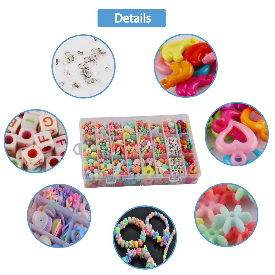 BPA Free Creativity Beading Toys for Party Games,DIY Bead Crafts Kit for Necklace Bracelet Rings Headband Jewelry Making w//Gift Box for Kids Aged 4 and Up,650+ pcs PopBeads02 STSTECH Pop Beads Set