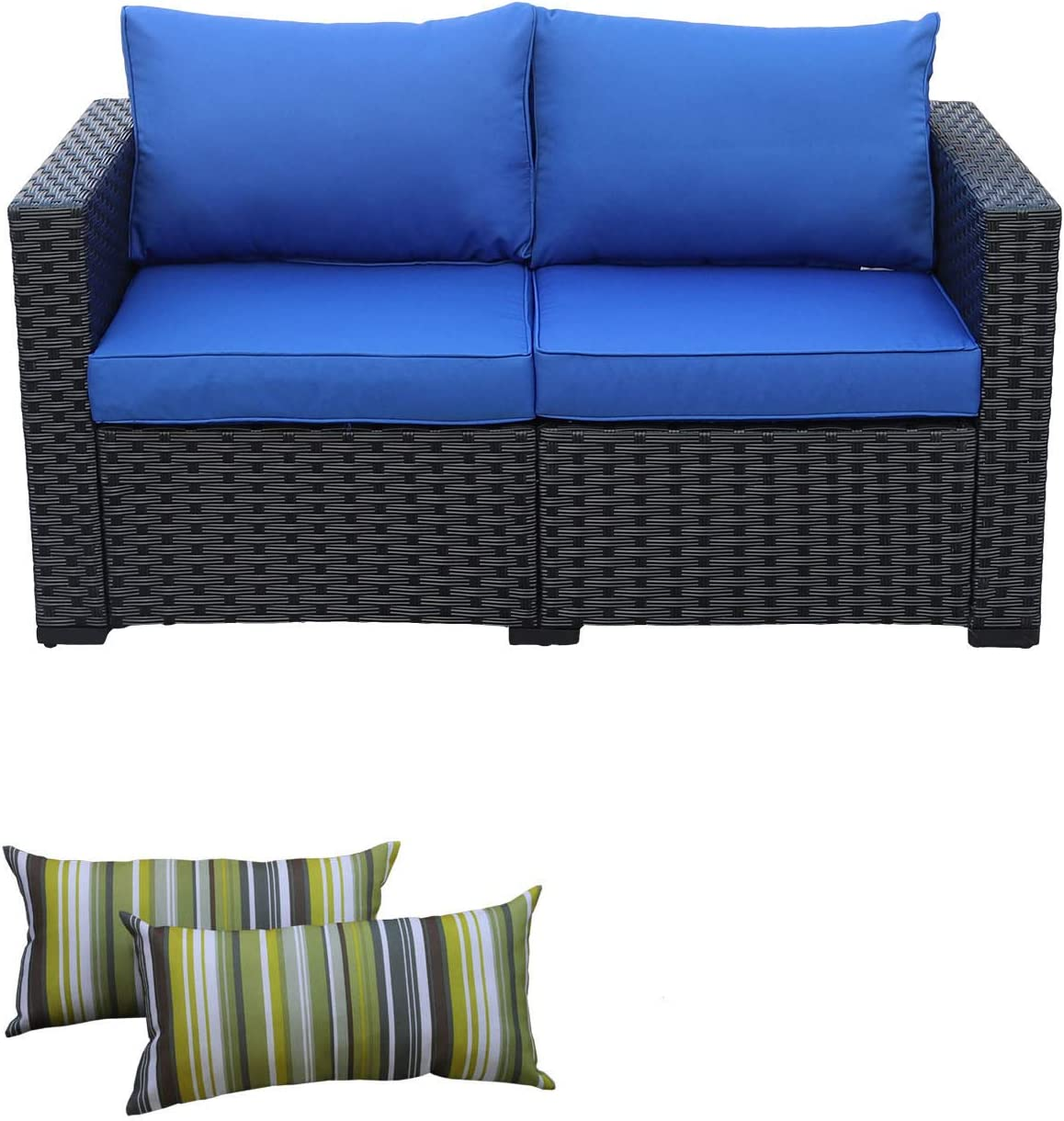Patio PE Wicker Sofa Outdoor Garden Love Seat Chair Couch Furniture Black Rattan with Blue Cushion