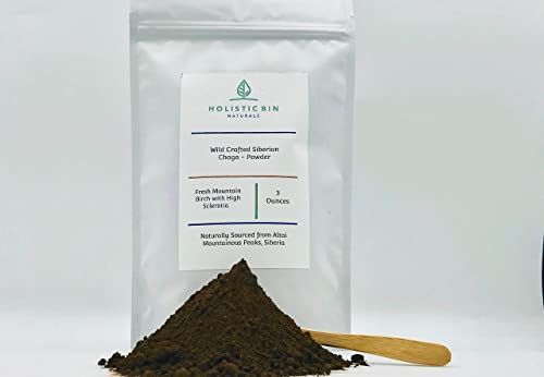 Chaga – Wildcrafted Siberian by Holistic Bin – Fresh 2020 Harvest – Powder 120 Mesh – Immune Booster, Clean Energy Source, Candida Destroyer, Super Antioxidant 50 Servings – Resealable Pouch