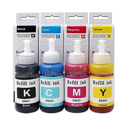 UniPlus Compatible 664 Ecotank Ink Bottle T6641 T6642 T6643 T6644 70ml Each  Color Use for Epson ET-2500 ET-2550 ET-2600 ET-2650 ET-3600 ET-4500
