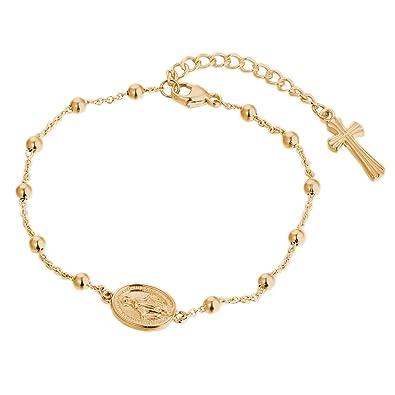 1887975e75f1 DOOSTI Rosenkranz Armband mit Anhänger 925 Silber Gelbgold vergoldet   Amazon.de  Schmuck