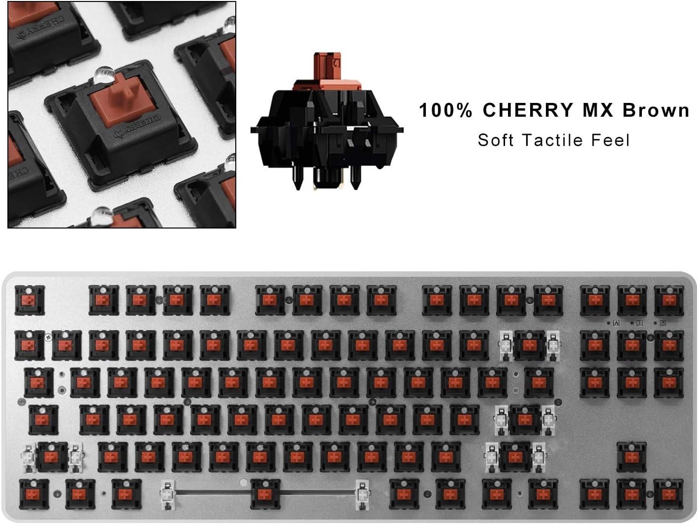 Gaming Teclado Mecánico Tenkeyless (87 Teclas) RGB - Cherry MX Brown – Retroiluminación LED de Arco Iris de 360 Grados (QWERTY Layout)