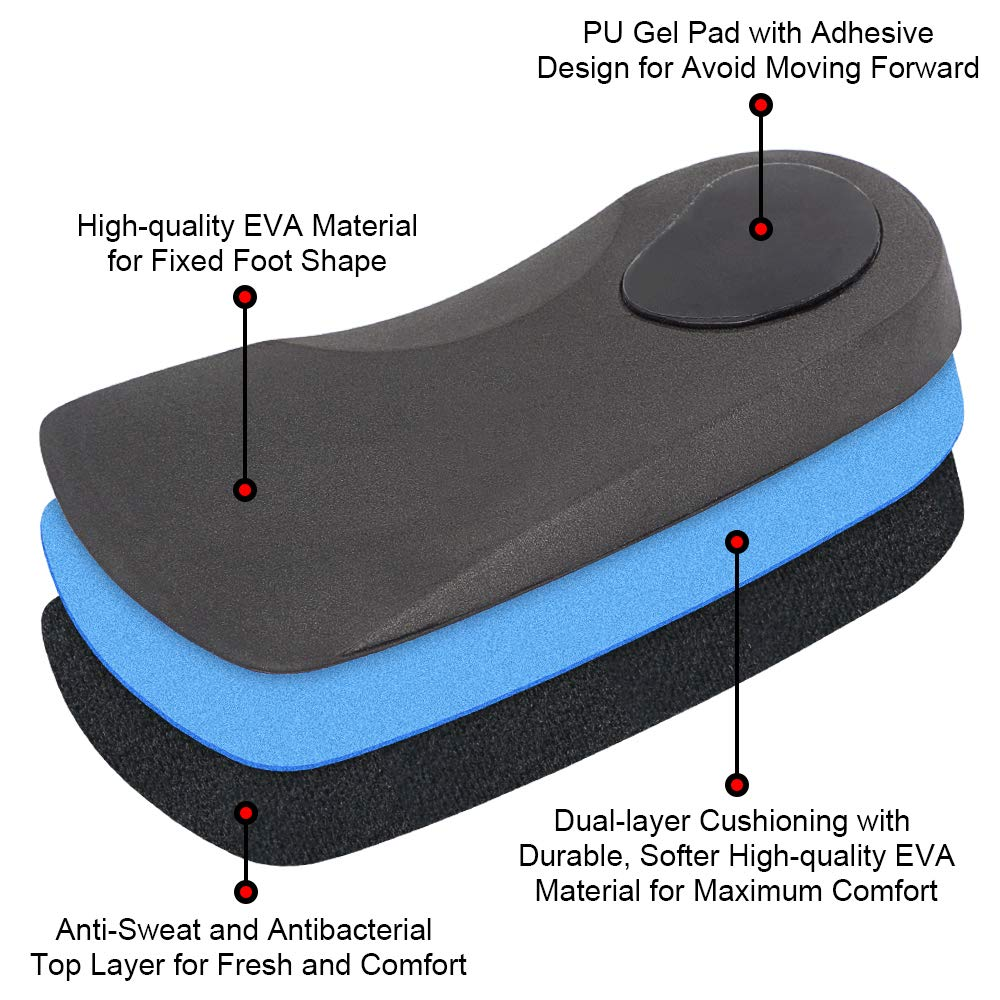 Dr. Foot\'s 3/4 Length Orthotic Inserts, Self-Adhesive Half Shoe Insoles for Flat Feet, Plantar Fasciitis, Fallen Arches, Over-Pronation, Heel Spurs, Feet Fatigue (L - Women\'s 11-13 | Men\'s 9.5-11)