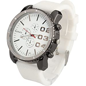 ShoppeWatch Mens White Wrist Watch 50mm Big Face White Band Unisex Reloj para Hombre SW1091WH