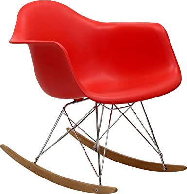Modway EEI-147-RED Rocker Molded Plastic Accent Lounge Chair Rocker Red