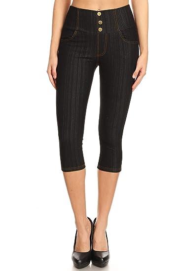 95d0fdb248b Women s High Waist Stretch Skinny Denim Capri Jeggings with Pockets (Small