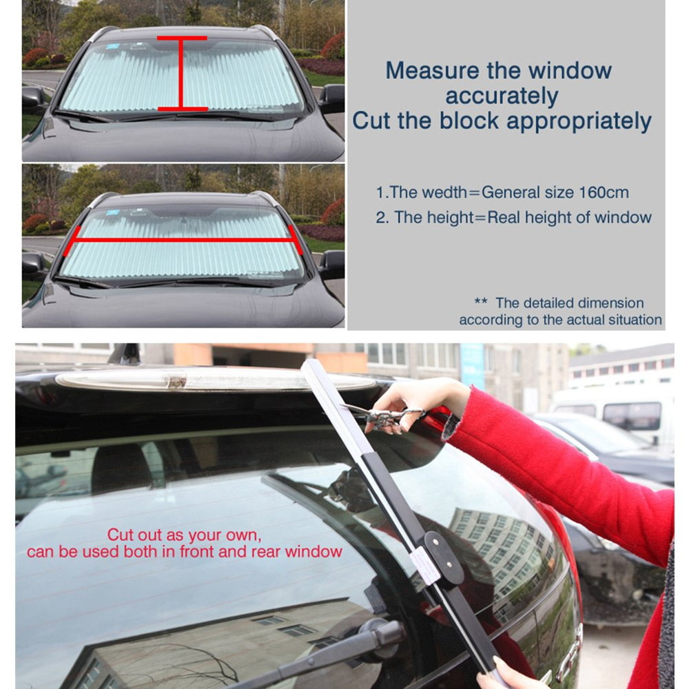 AUTOPDR Universal Car Retractable Windshield Sun Shade Auto Sun Shade Cover for Most car Trucks SUV UV Protection Front Windows