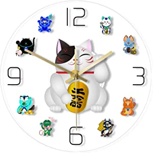 YUYANG Wall Clock 12 Inch Lucky Maneki Cat Print Wall Clock Japanese Beckoning Welcoming Fortune Cat Cute Cartoon Home Children's Room Decoration Mute Wall Clock Battery Operated Easy to Read Clock