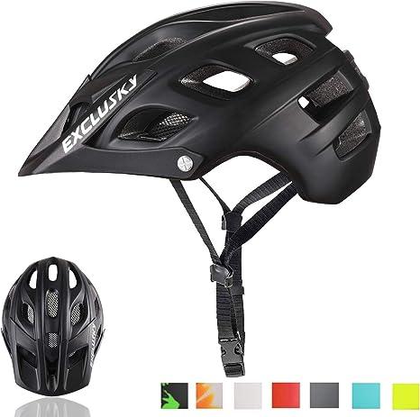 Exclusky BMO Bicicleta de montaña Casco de Ciclo cpsc Certificado Ligero Ajustable Negro: Amazon.es: Hogar