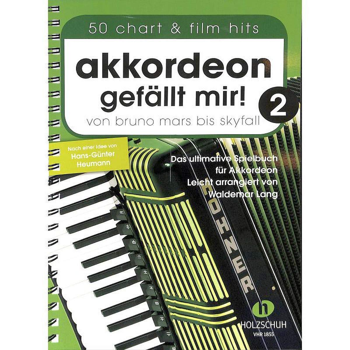 Accordéon 'J'aime 2–de Bruno Mars à Skyfall–Le livre ultime Jeu pour accordéon, facile arrangés–Livre avec coloré Cœur Note Pince