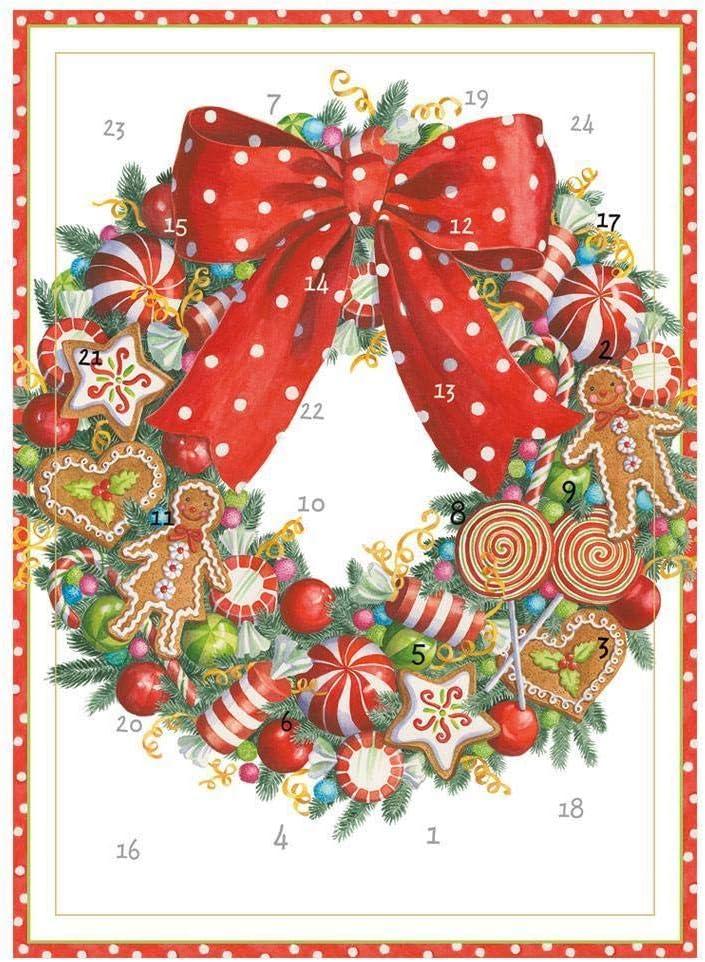 ghdonat.com 1 Card and Envelope Caspari Candy Wreath Advent ...