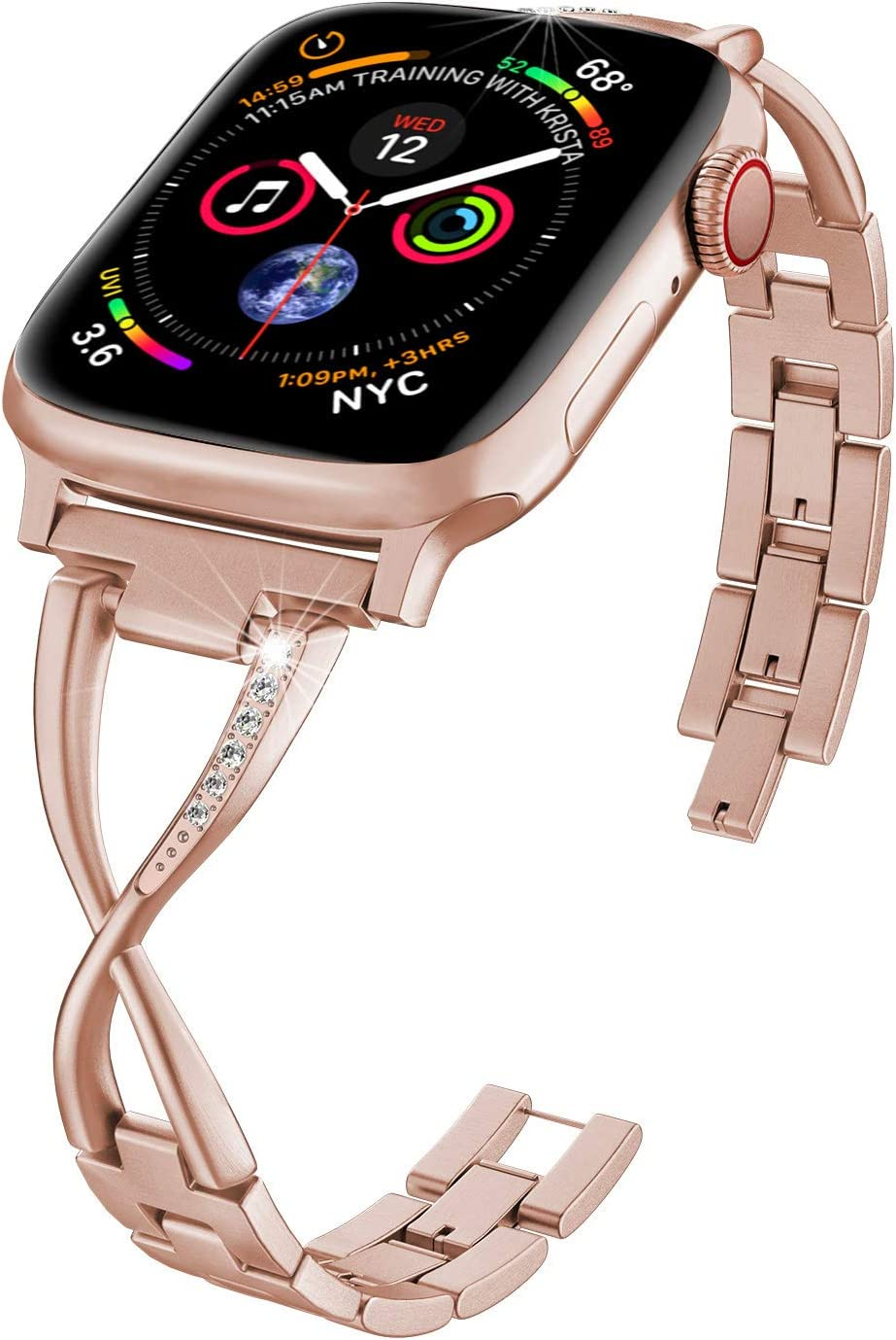 ImmSss Bling Metal Band Compatible for Apple Watch Band Series 6 SE 5 4 40mm 44mm/ iWatch Series 3 2 1 38mm 42mm, Wristband Strap Cuff Bangle Bracelet