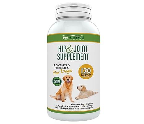 Suplemento avanzado para perros cadera y articulaciones 120 cápsulas Glucosamina HCL, Condroitina, MSM,
