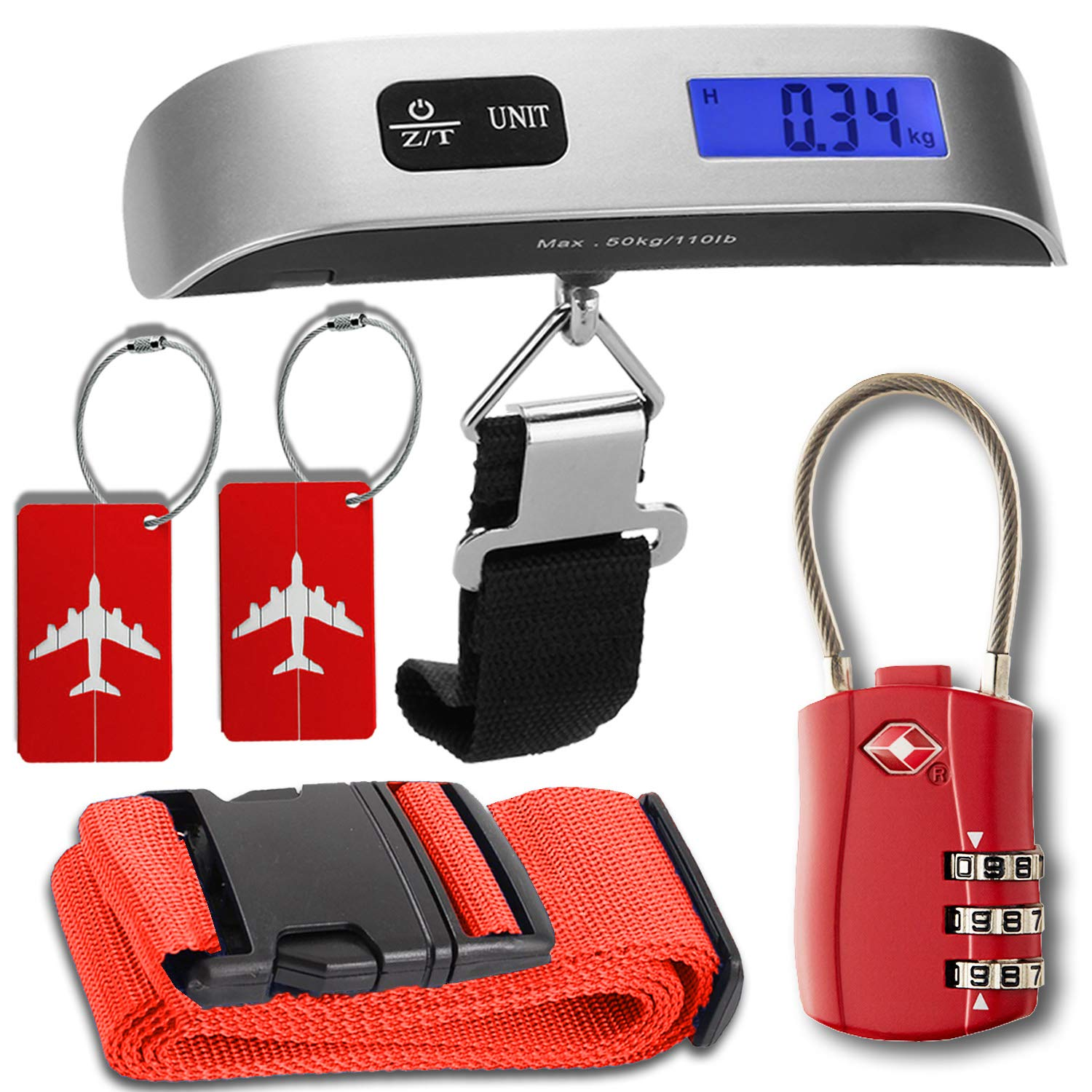 Luggage Accessories Kit, Luggage Scale with Tare Function, TSA Accepted Cable Luggage Lock, Luggage Tags, Bag Travel ID Labels for Baggage Suitcases, Luggage Straps Suitcase Belts, Gift for Traveler HeroFiber