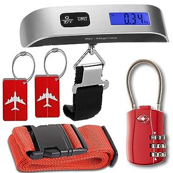 Kit de accesorios de equipaje, báscula de equipaje con función de tara, TSA Aceptado