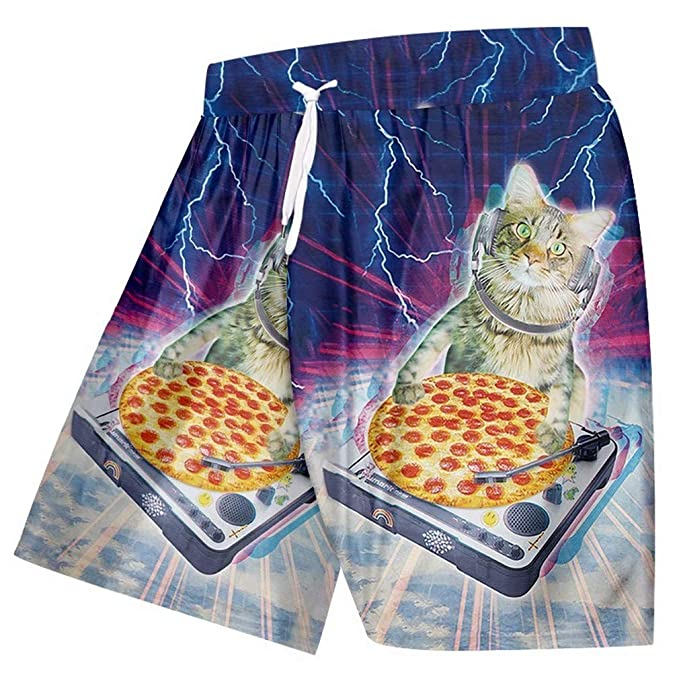 374d8886f6 Summer Beach Shorts Men Funny Print Pizza Cat Space 3D Sweat Trunks Man Bathing  Suits Quick Dry Bermuda Shorts: Amazon.co.uk: Clothing