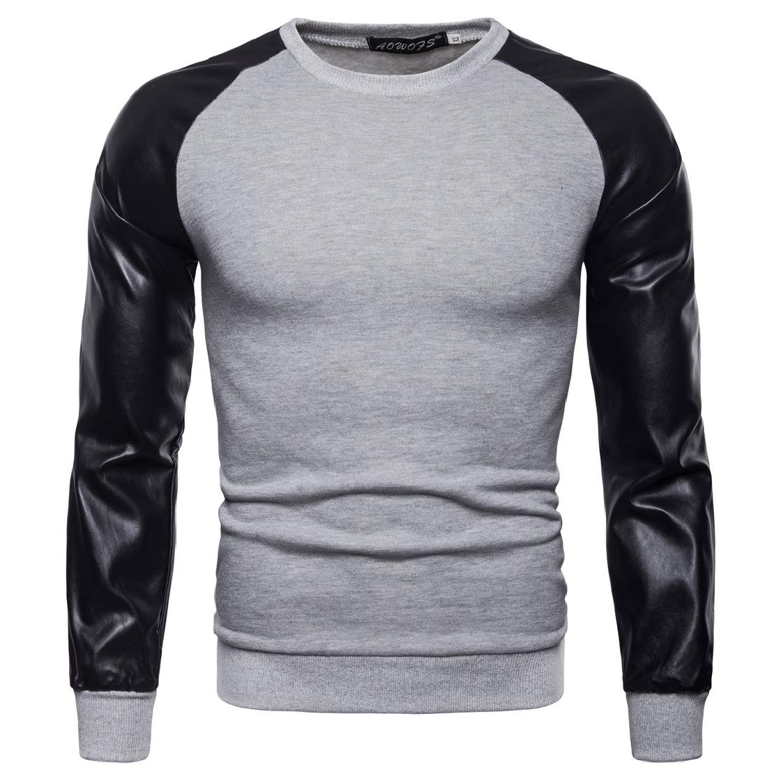YUNY Mens Faux-Leather Pullover Plus Velvet Simple Splicing Sweatshirt Top Light Grey L