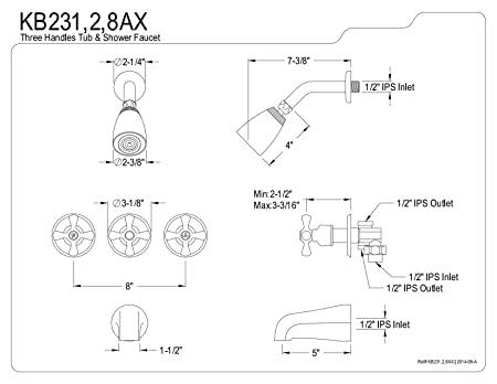 Kingston Brass Kb238ax Tub And Shower Faucet With 3 Cross Handle