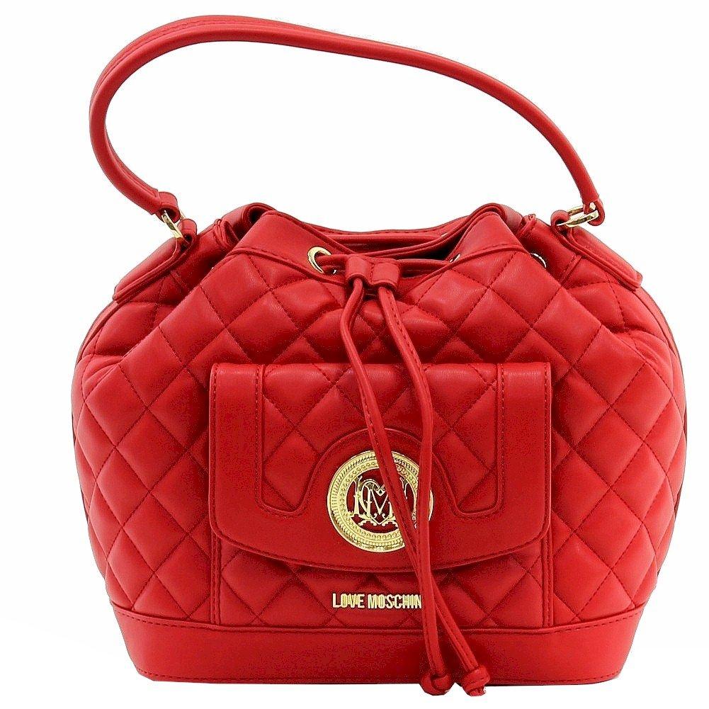 Love Moschino Women's Quilted Medium Red Leather Satchel Handbag