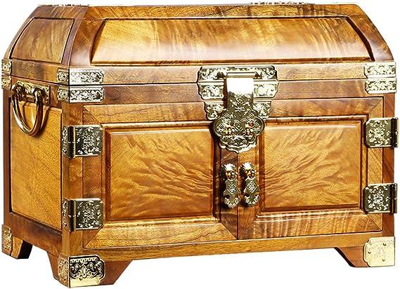 GWW Madera Maciza Cajas Decorativas,Vintage Pendientes Collares Anillos Pulseras Organizador,Rústico Mujeress Caja Joyero con Mirror Drawers Lock A 35 * 13 * 27 Cm: Amazon.es: Hogar