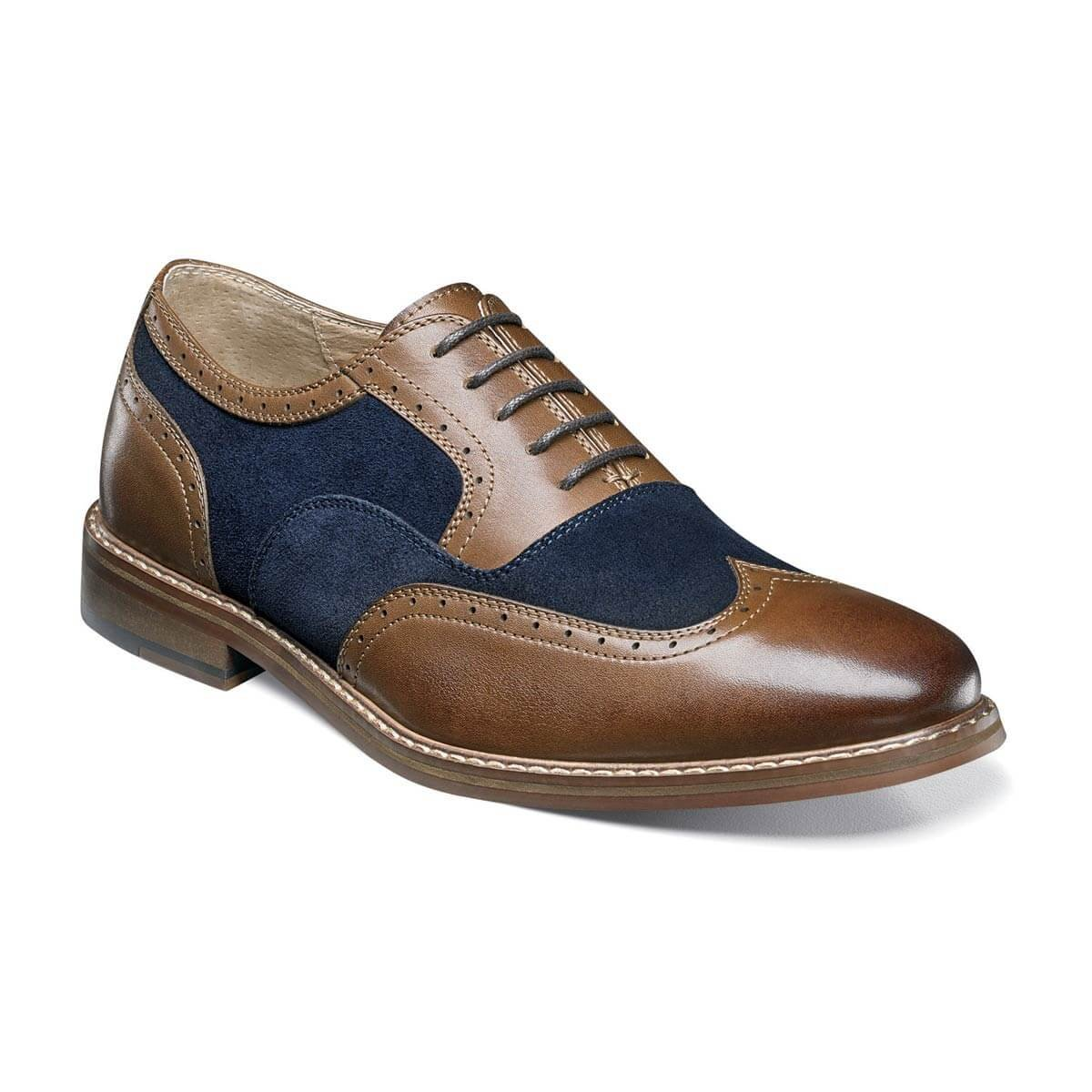 Stacy Adams Mens Ansley Wingtip Oxford (25130), Brown and Navy, 10 M (25130-989)