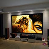 """Safekom Portable 100"""" Inch 16:9 Fabric Matte Projector Projection Screen Home Cinema Theater Manual Pull Down Wide HD 3D Movies White Screens Durable Matt - 1 Year Warranty UK Free & Fast Same Day Dispatch UK Seller"""