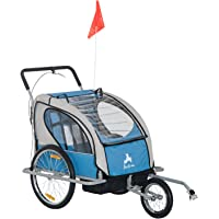 Aosom 2IN1 Double Baby Bike Trailer Stroller Jogger Child Two-Wheel Bicycle Cargo Blue