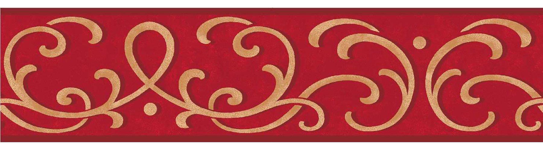 Fine Decor FDB07503S Red Carmen Peel & Stick Border