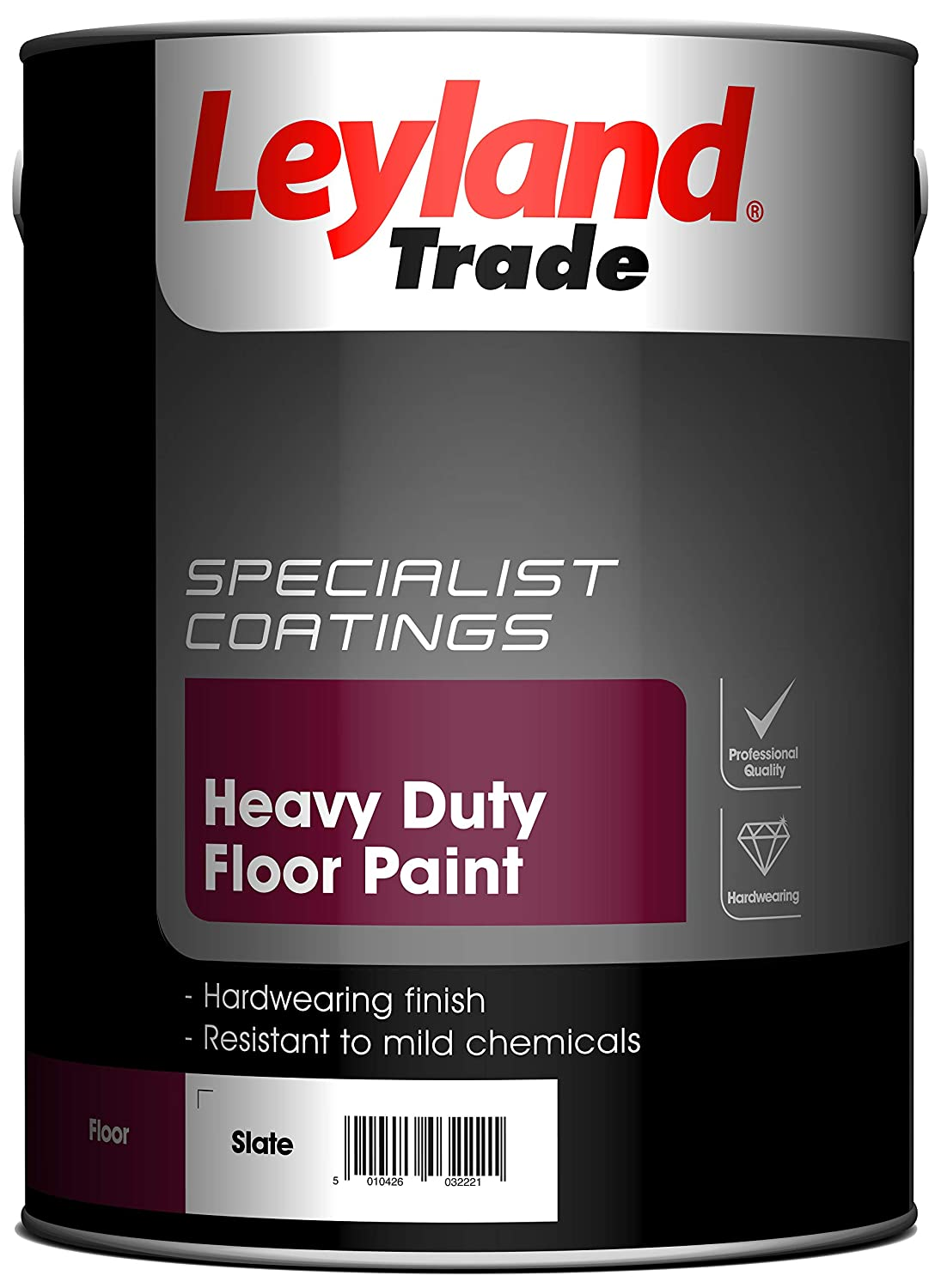Leyland Trade 264619 Heavy Duty Floor Paint, Slate, 5 PPG