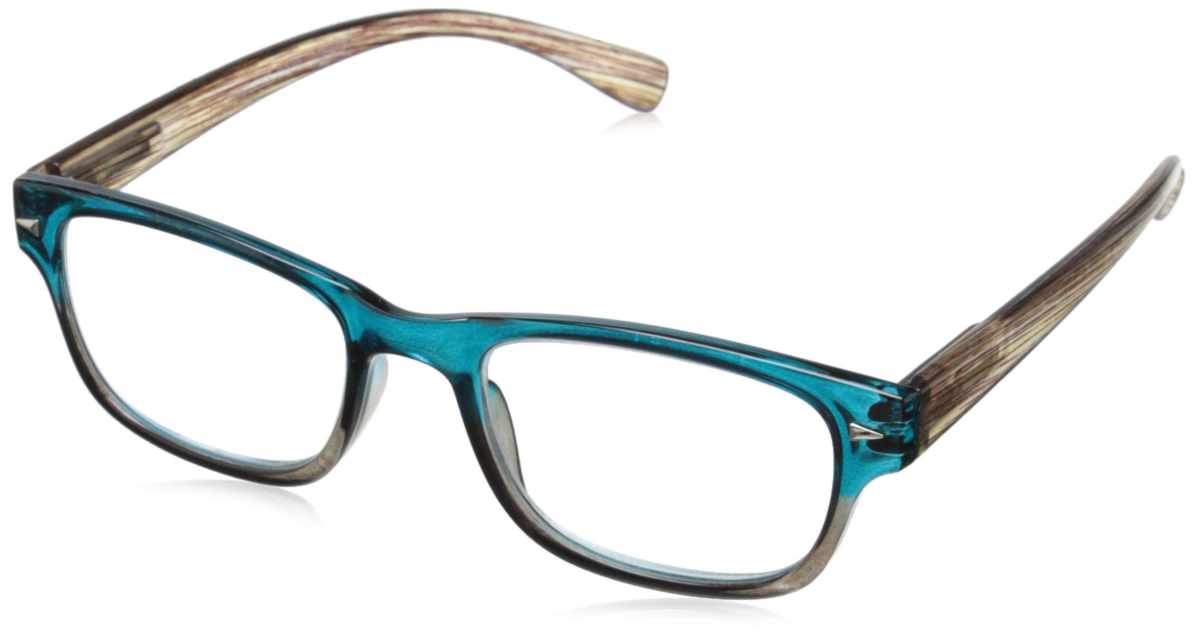 Peepers Aficionado Rectangular Reading Glasses, Blue & Brown, 2.5
