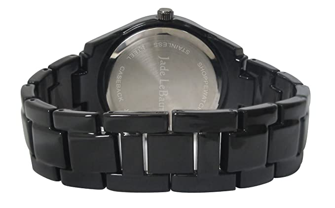 Amazon.com: Jade LeBaum Womens Black Bracelet Watch with Crystals Boyfriend Style Big Chunky Large Face Reloj de Mujer Negro JB202733G: Jade LeBaum: Watches