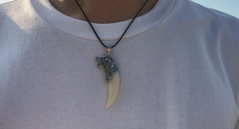 brillant de qualit/é collier bijoux Collier Pendentif /à dents de loup avec collier les enfants et Fans Bijoux dernier mod/èle Wolf pour homme et femme dents