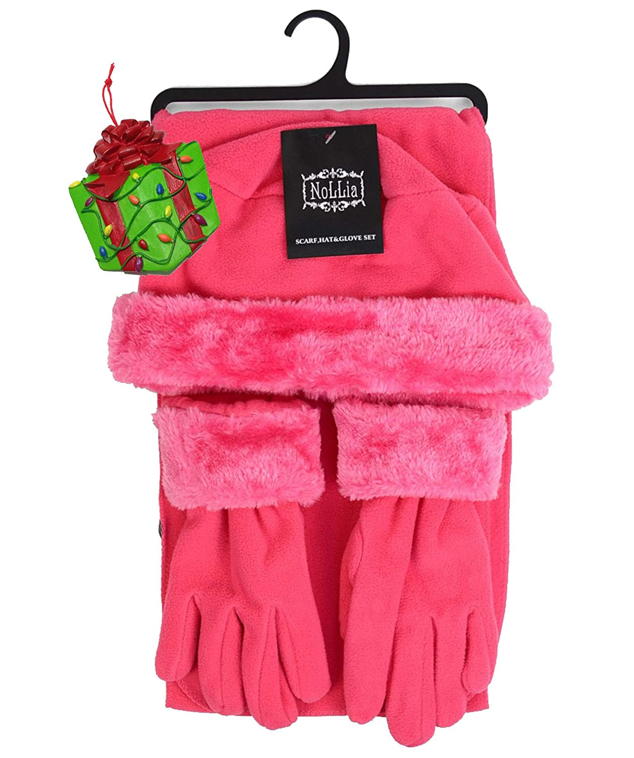 Girls Pink Fleece Winter Outerwear Gift Set - Scarf, Gloves, Hat & Bonus Tree Ornament