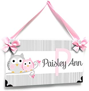 Personalized Pink and Grey Owl themed Girls Room Door Sign