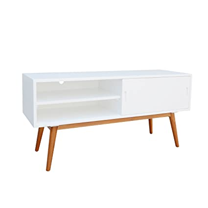 Mid Century Modern Wood Media Console Cabinet TV Stands With 2 Open Shelves  Sliding Door And