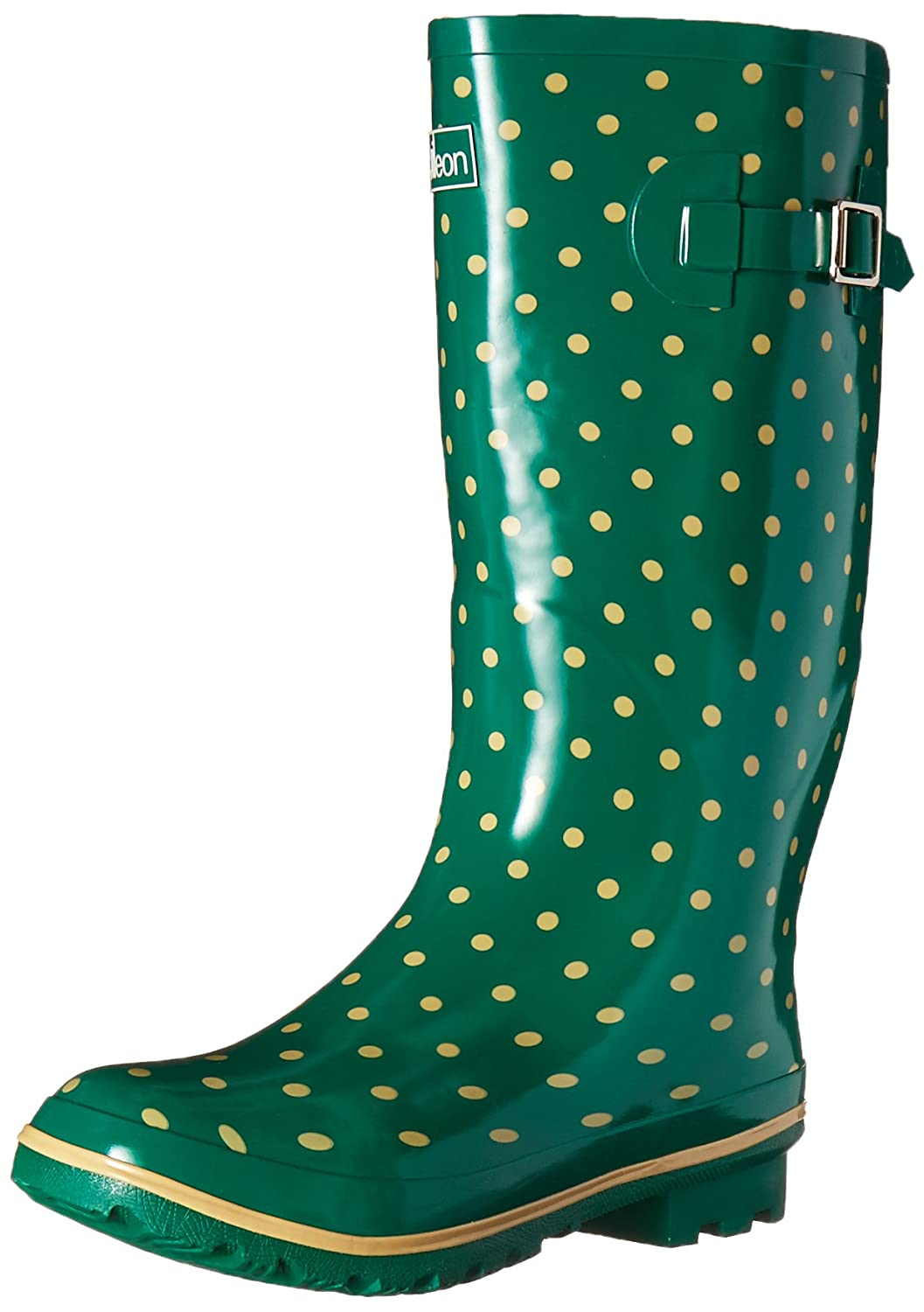 Wide Calf Rain Boots - up to 18 inch calf - Green with Cream Spots and Fleece Lining
