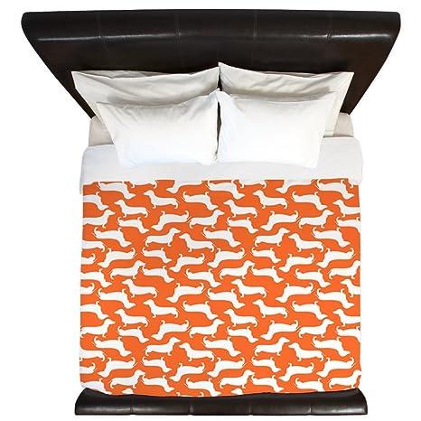 CafePress diseño de perro salchicha patrón – King funda de edredón, colcha impreso, color