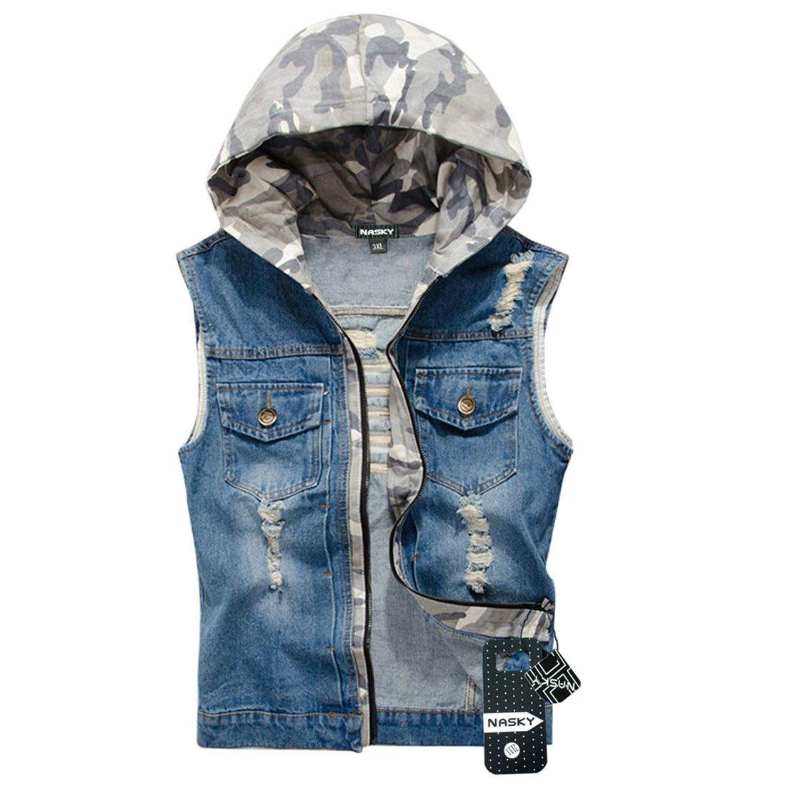 NASKY Men's Retro Ripped Jeans Denim Jacket Vest Hooded Vest Waistcoat Top Medium