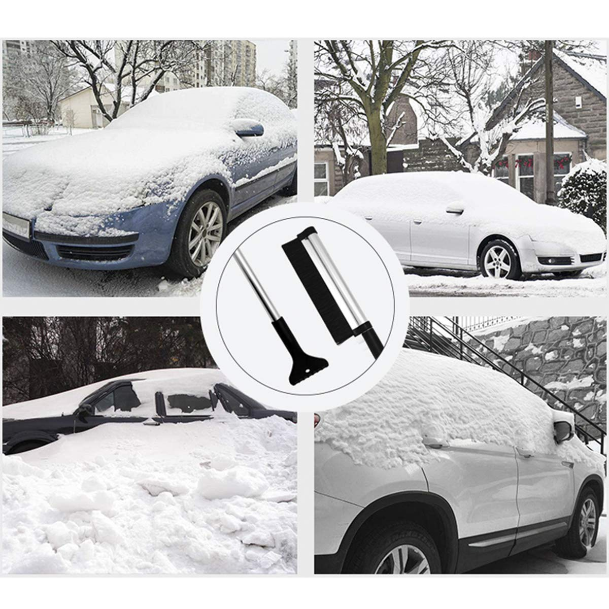 Ice Snow Removal Shovel for Windshield Glass Extends from 17 to 24 Miaoo Extendable Snow Brush Ice Scraper for Car
